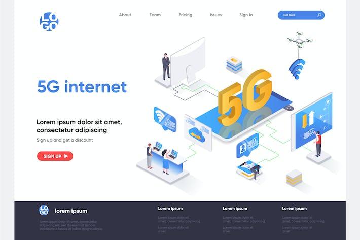 5G Internet-Vorlage für isometrische Zielseiten