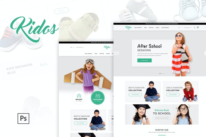 Thumbnail for Kidos - Kids Clothing eCommerce PSD Template