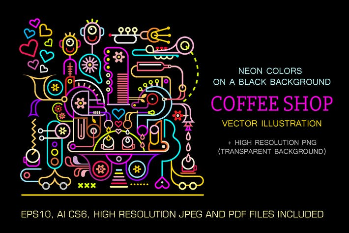 Thumbnail for Coffee Shop neon colors vector illustration