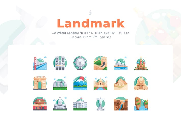 Thumbnail for 30 Landmark Icon set - Flat