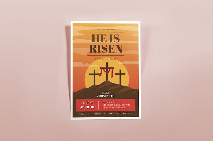 Thumbnail for He is Risen Flyers Template