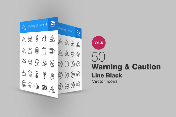 Thumbnail for 50 Warning & Caution Line Icons