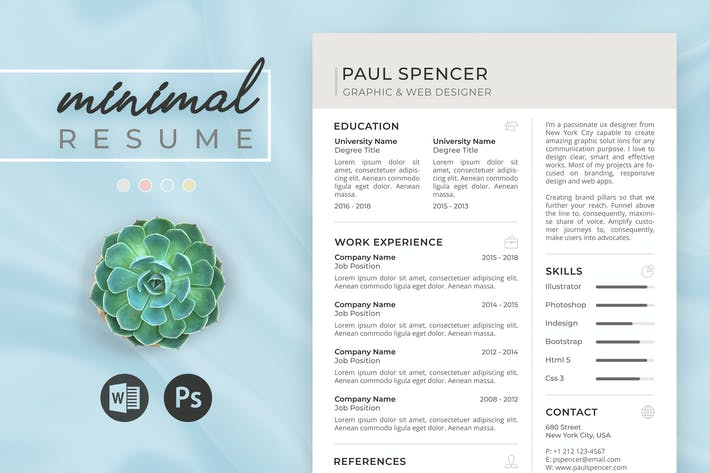 Cover Image For Minimal Resume