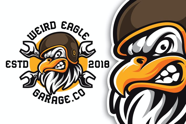 Thumbnail for Weird Eagle Bikers Logo Template