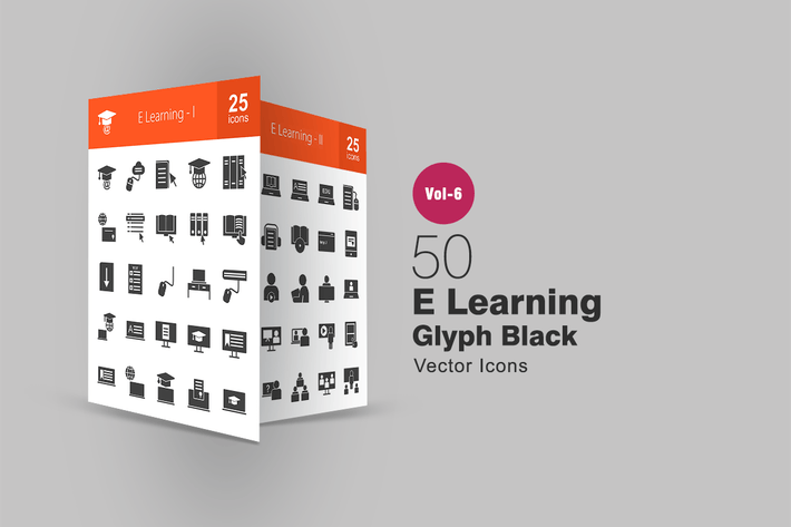 Thumbnail for 50 E Learning Glyph Icons