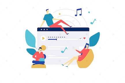 Listening to music flat design style illustration