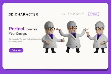 Professor 3D Illustration with three expression