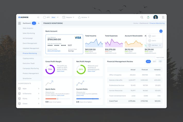 Thumbnail for Finance Monitoring Admin Dashboard UI - FD