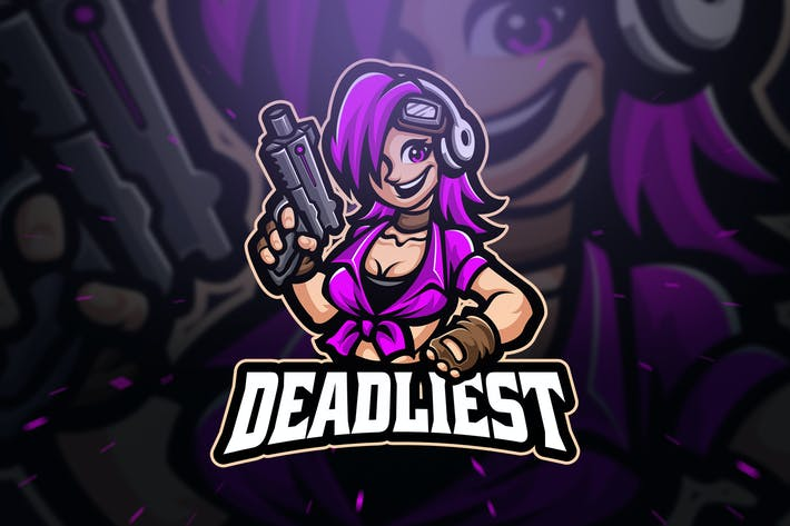Thumbnail for Deadliest Cute Girl Sport and Esport Logo Template