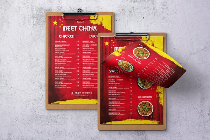 Thumbnail for Chinese Cuisine Single Page A4 & US Letter Menu