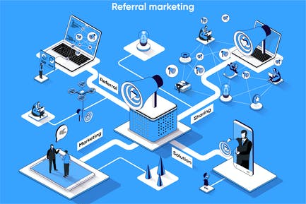 Referral Marketing 3D Isometric Web Banner