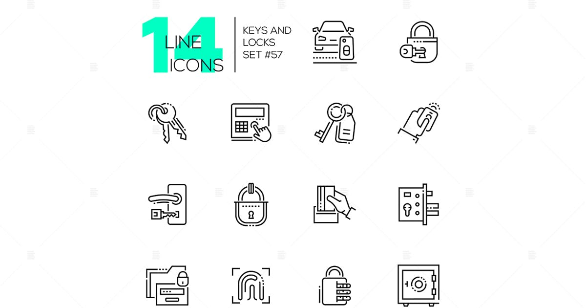 Keys and locks - modern thin line design icons set by BoykoPictures