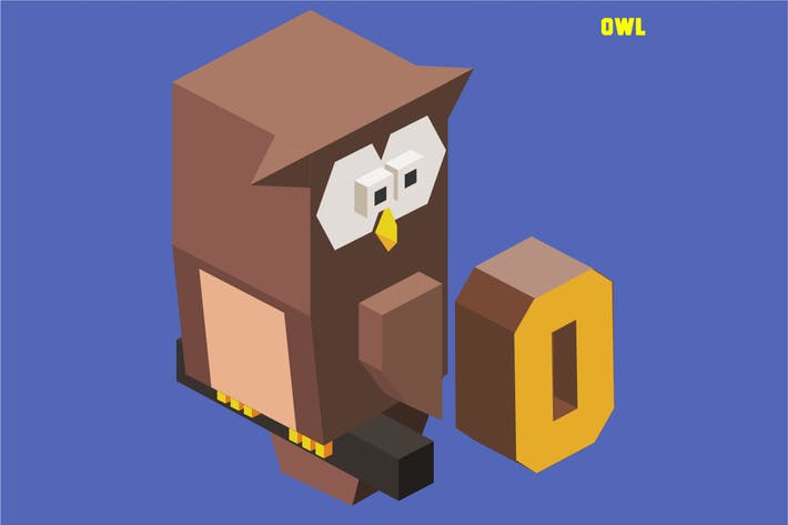 Thumbnail for O für Eule, Animal Alphabet Sammlung. Vektor illu
