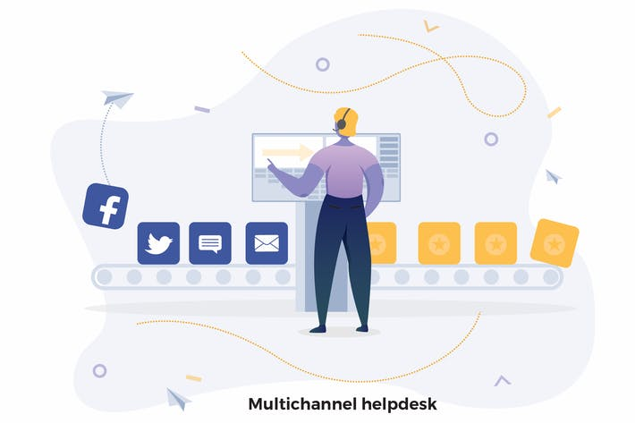 Thumbnail for Multichannel helpdesk Illustrations CRM