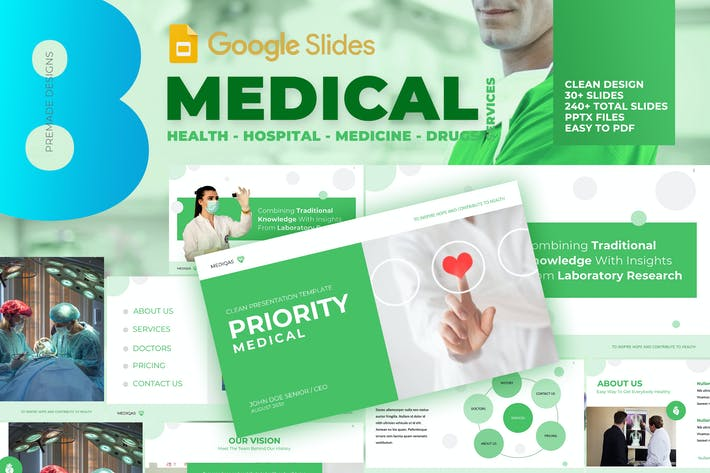Thumbnail for Medical Pro - Clean Google Slide Template