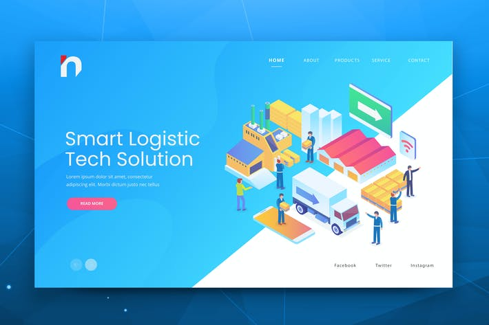 Thumbnail for Isometric Smart Logistic Web PSD and AI Vector