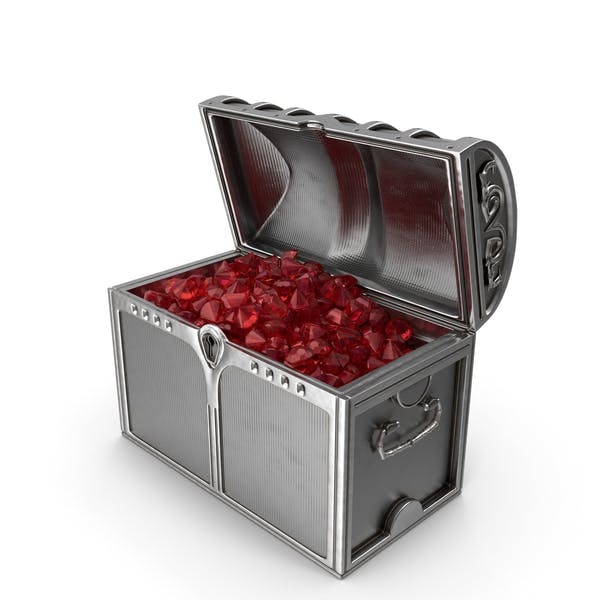 Silver Chest With Large Ruby Gems
