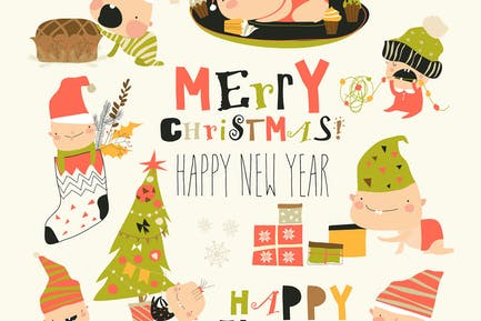 Vector Set of cute babies with Christmas elements