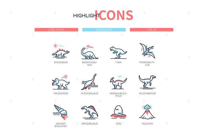 Different dinosaurs - line design style icons set