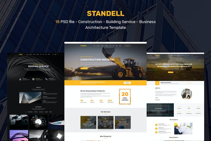 Thumbnail for Standell | Multipurpose Construction PSD Template