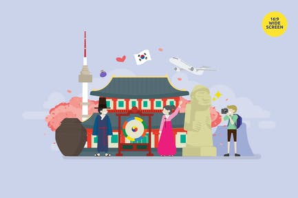 Korea Tourism And Culture Vector Concept