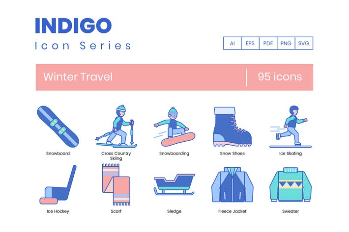Thumbnail for 95 Winter Travel Icons | Indigo Series