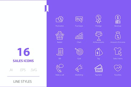 Shopping sale Icon Line Styles