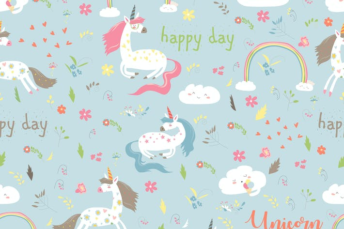 Thumbnail for Vector cartoon seamless pattern girl with unicorn.
