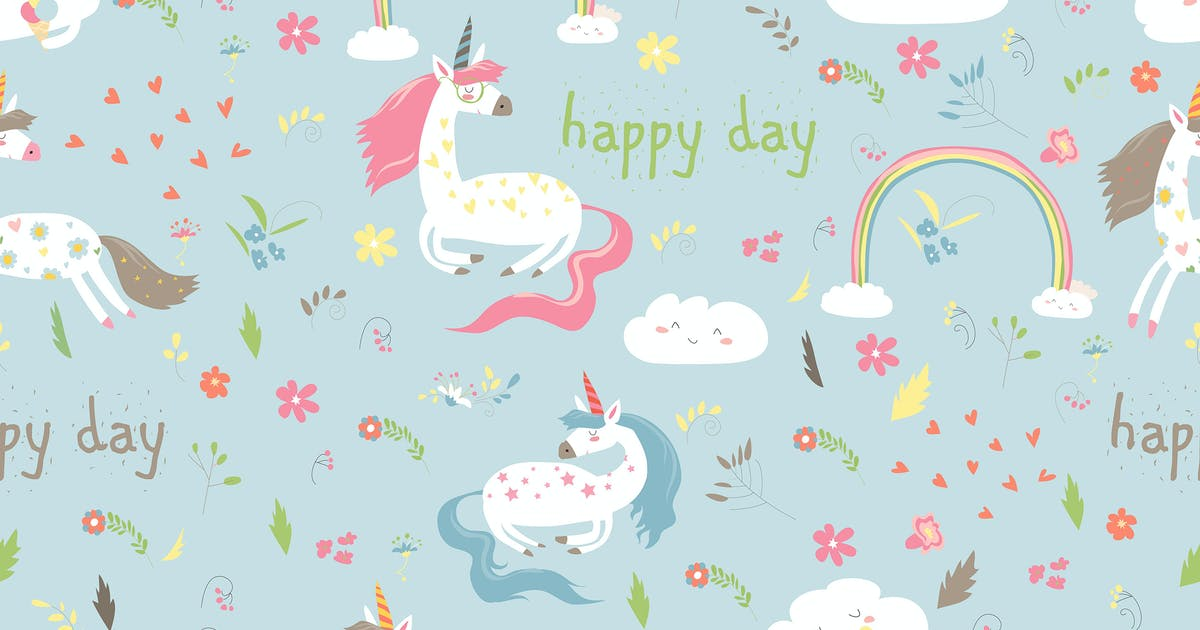 Download Vector cartoon seamless pattern girl with unicorn. by masastarus