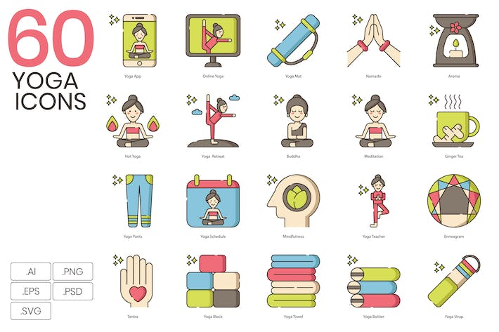 Thumbnail for 60 Cute Yoga Icons