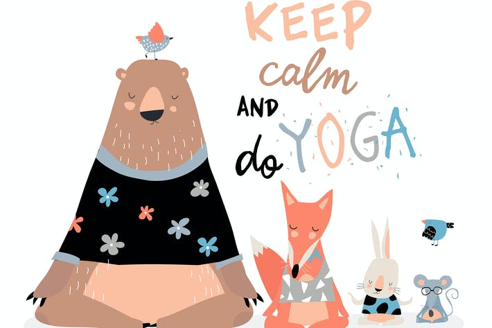 Thumbnail for Cute animals sitting in yoga lotus pose and relaxi