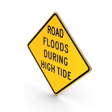 Straßenüberschwemmungen während der Flut Zeichen