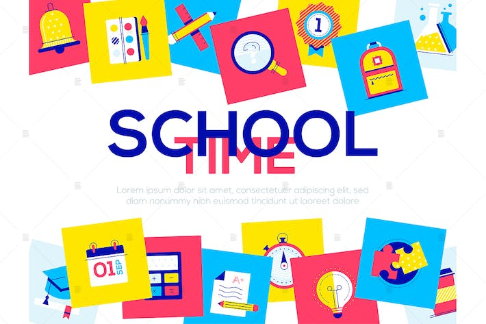 Thumbnail for School time - flat design style web banner