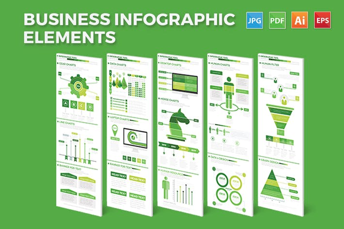 Thumbnail for Green Business Infographics Elements