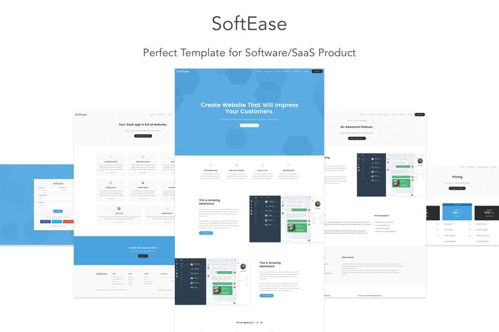 Saas free template bootstrap 4 & material design material.