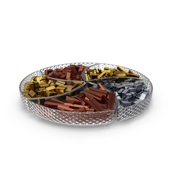 Compartment Bowl with Fancy Wrapped Chocolate Candy