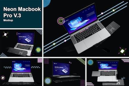 Neon Macbook Pro Mockup V.3