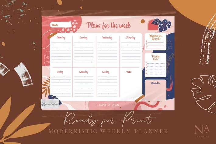 Thumbnail for Modernistic Weekly Planner