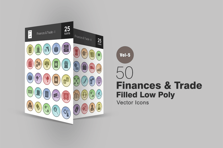 Thumbnail for 50 Finances & Trade Filled Low Poly Icons