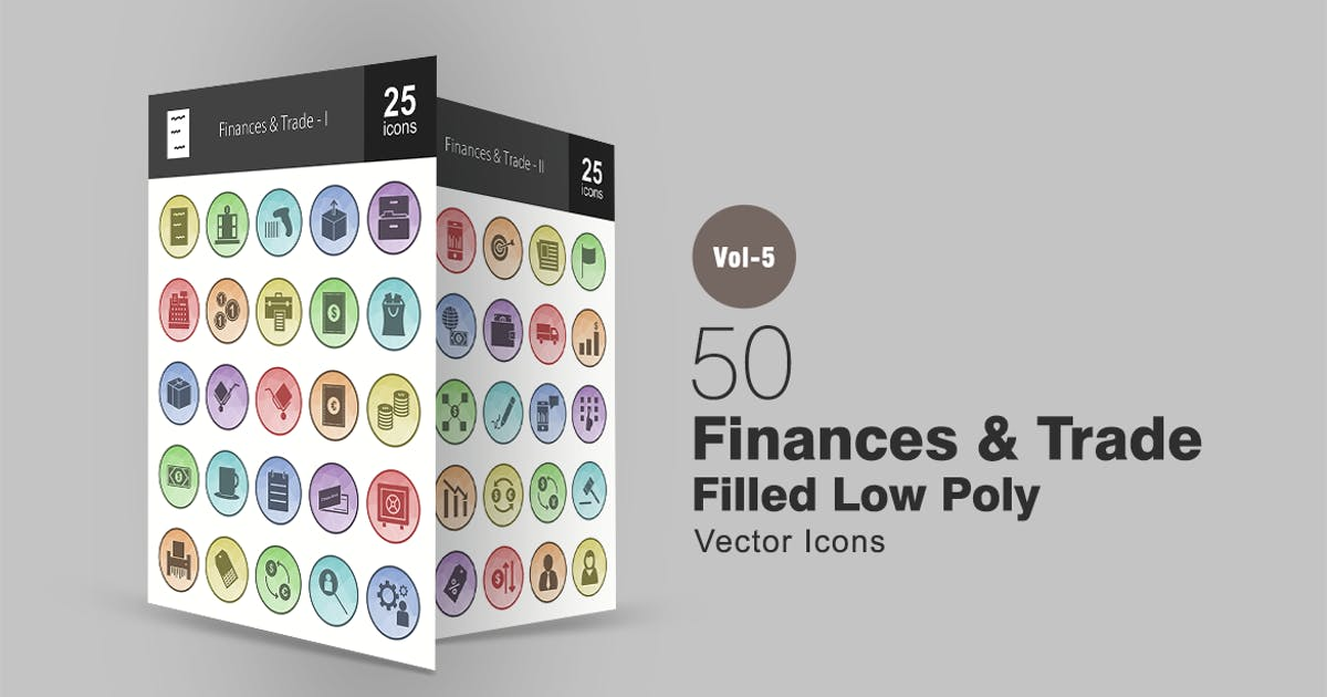 Download 50 Finances & Trade Filled Low Poly Icons by IconBunny