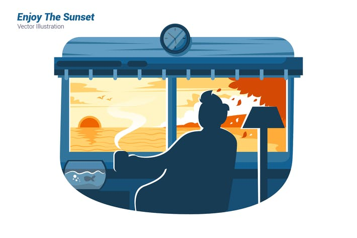 Thumbnail for Enjoy The Sunset - Vector Illustration