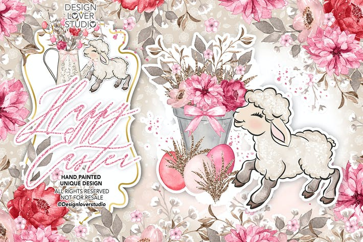 Thumbnail for Happy Easter lamb design