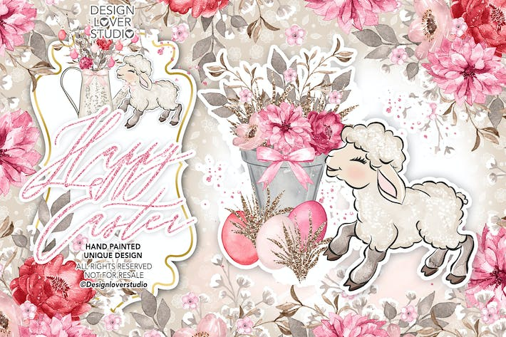Cover Image For Happy Easter lamb design