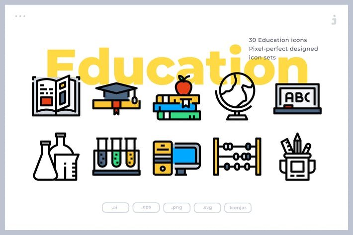 Cover Image For 30 Education Icons
