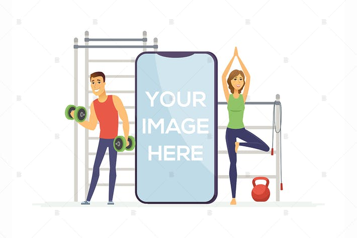 Thumbnail for Fitness-app - Zeichentrickfigur Illustration