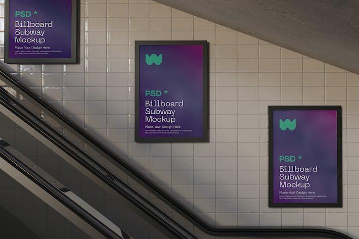 Drei U-Bahn-Anschlagtafeln Mockup