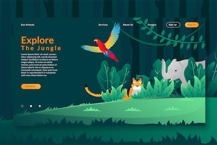 Explore The Jungle - Web Header & Vector GR