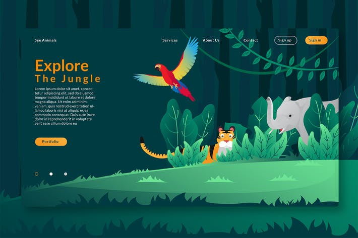 Thumbnail for Explore The Jungle - Web Header & Vector GR