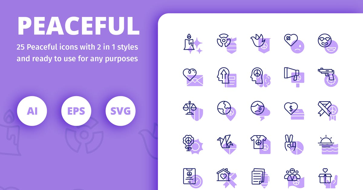 Download Peaceful Icons (Line and Solid) by inipagi