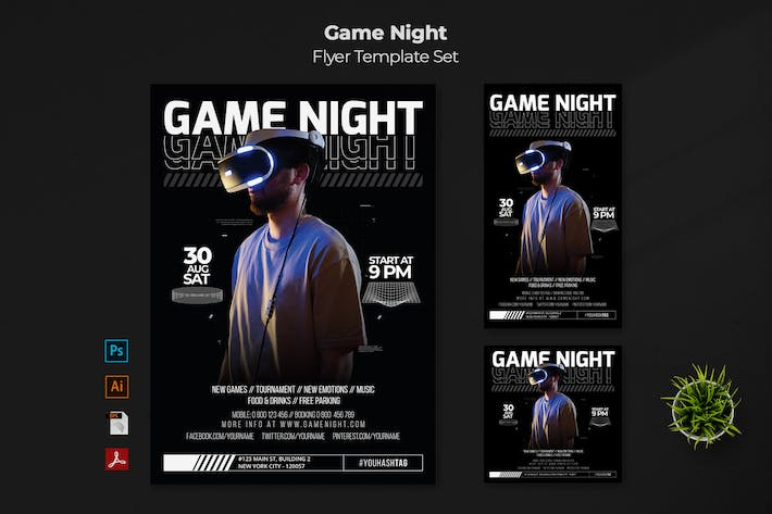Game Night Flyer Template Set